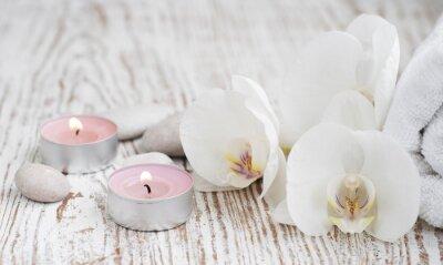 Fototapeta Spa set s bílých orchidejí