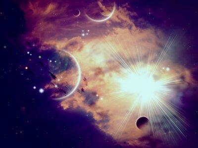 Fototapeta Space Mraky a planet