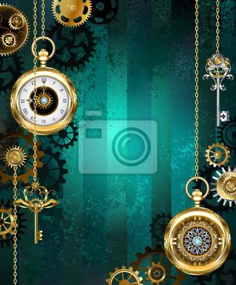3e12e9f6af5 Šperky hodinky na zeleném pozadí fototapeta • fototapety zastaralý ...