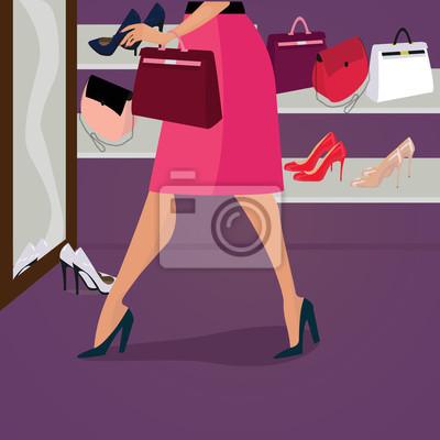 Fototapeta Špičková kvalita módní boty a tašky pro ženy v obchodě.  Atraktivní žena v červené 5470b22a27