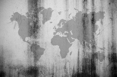 Fototapeta Špinavá zeď mapa