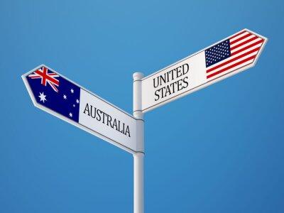 Spojené státy americké Austrálie Přihlášení Vlajky Concept