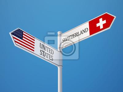 Spojené státy americké Švýcarsko Znamení Vlajky Concept