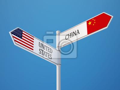 Spojené státy Čína Znamení Vlajky Concept