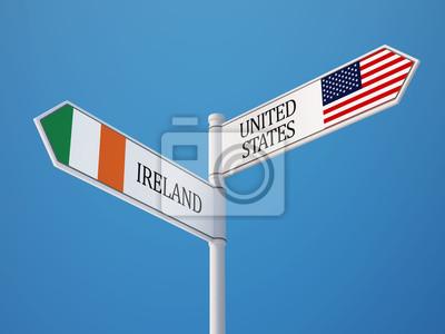 Spojené státy Irsko Znamení Vlajky Concept