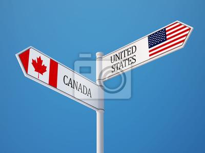 Spojené státy Kanada Znamení Vlajky Concept