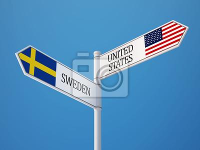 Spojené státy Švédsko Znamení Vlajky Concept