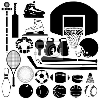 Sportovní vybavení a míče v podrobné vektorové silueta fototapeta ... 7de08c9cd17