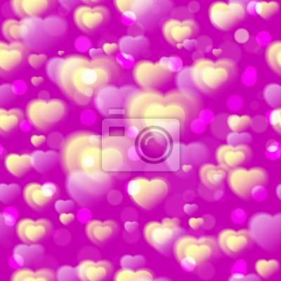 0203ce36d5f7 Fototapeta Srdce bezproblémové vzor. Barevné nadýchané srdce na růžové  fialové pozadí. Láska. Valentýn