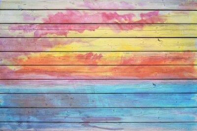 Fototapeta Stará dřevěná deska v duhových barvách
