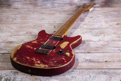 Fototapeta stará elektrická kytara červená