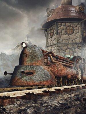Fototapeta Stará zardzewiała lokomotywa na tle wieży