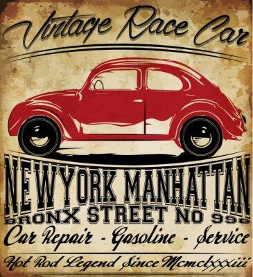 Fototapeta Staré auto Vintage Classic Retro muž tričko grafického designu