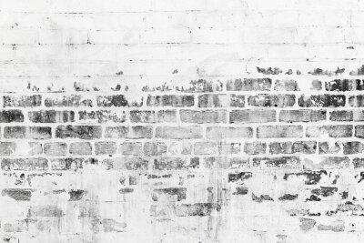 Fototapeta Staré cihlové zdi s poškozenou bílou vrstvou laku