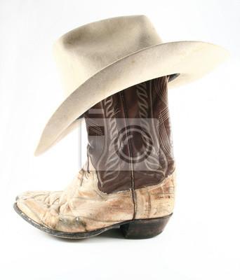 Staré kovbojské boty a klobouk boční fototapeta • fototapety bez ... dbab0f7ede