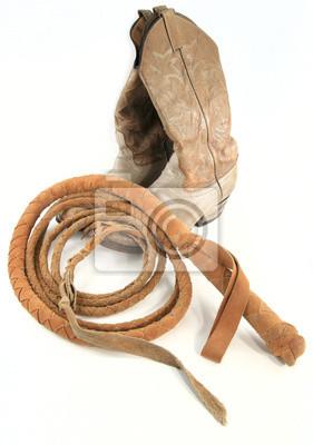 Staré kovbojské boty s bičem fototapeta • fototapety bez sedla ... 243b8d4d14