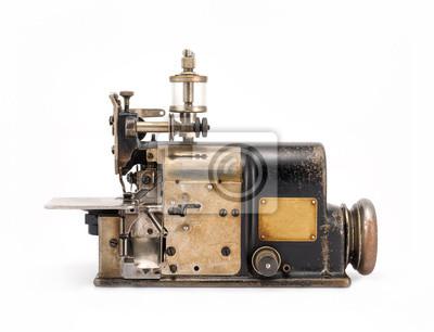 Staré průmyslové overlock šicí stroj pohled zepředu fototapeta ... 0d6eddb508