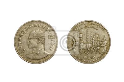 f8fb5cf01 Fototapeta Staré thai mince 1 baht rok 1972 izolovaných na bílém pozadí