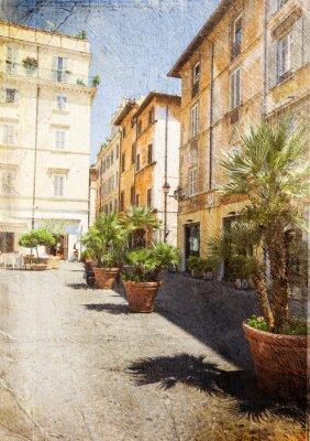 Fototapeta staré ulice v Římě. Itálie. Obraz v umělecké retro stylu.