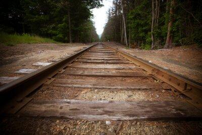 Fototapeta Staré železniční tratě s vintage textury účinkem