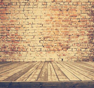 Fototapeta starý pokoj s cihlovou zeď, retro filtrován, Instagram styl