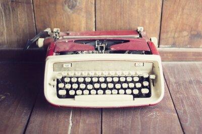 Fototapeta Starý styl psací stroj na dřevěnou podlahu