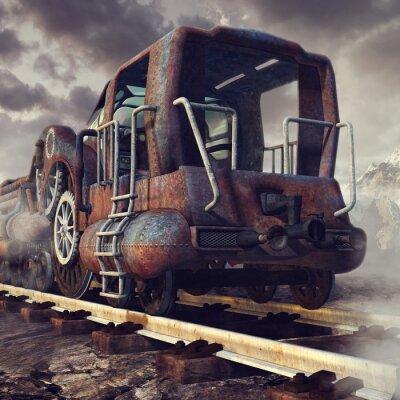 Fototapeta Starý zardzewiały pociąg w górskiej scenerii