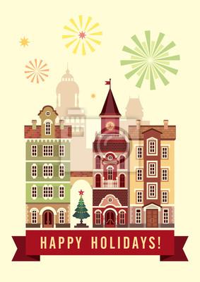 Fototapeta šťastný svátky přání, vánoční město byt ilustrace