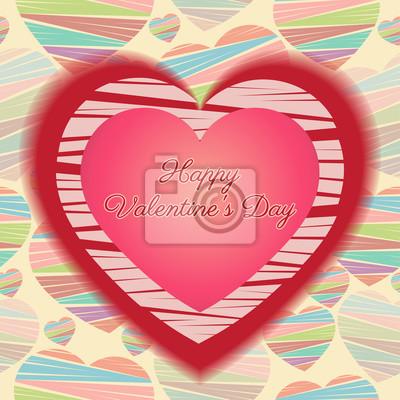 eb525aa97f7a Fototapeta Šťastný Valentines Day Card (14.února). Srdce červené a růžové na