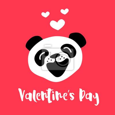 Stastny Valentyn Karta S Roztomile Kreslene Panda A Srdce Vektor