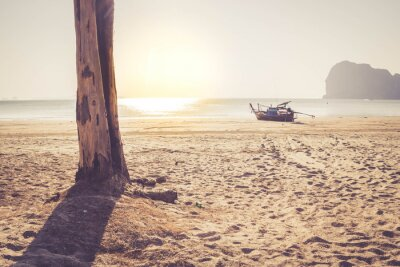 Fototapeta stín stromu na pláži s tradiční thajskou dlouhým ocasem