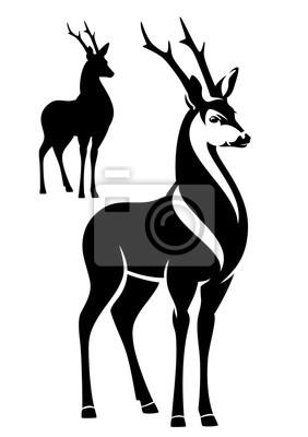 Stojící jelen černé a bílé vektorové obrys a siluetu fototapeta ... 1fb38d0495