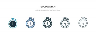 Fototapeta stopwatch icon in different style vector illustration. two colored and black stopwatch vector icons designed in filled, outline, line and stroke style can be used for web, mobile, ui