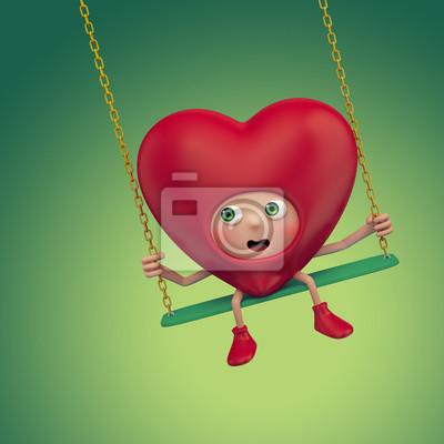 Fototapeta strach karikatura Valentine srdce sedí na houpačce