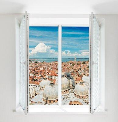 Fototapeta střechy Florencie vidět oknem