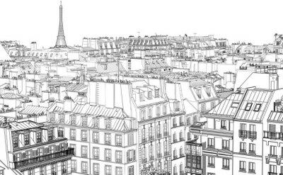 Fototapeta střechy v Paříži