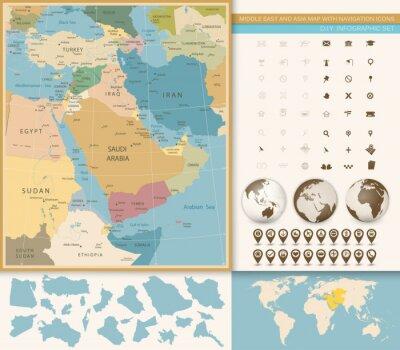 Fototapeta Středním východě av západní Asie barvy mapy Klasické