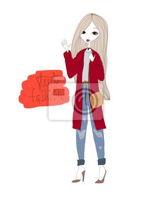 Fototapeta Street Fashion Ilustrace s módní dívka 8f63c8748a