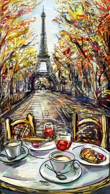 Fototapeta Street na podzim v Paříži. Na Eiffelovu věž -sketch ilustrace