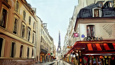 Fototapeta Street v Paříži - ilustrace