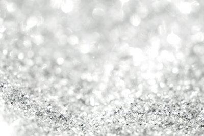Fototapeta Stříbrné pozadí rozostřených abstraktních světel. Zlaté bokehové světla.