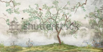 Fototapeta Strom u jezera. Zamlžená krajina. Strom s ptáky v japonské zahradě. nástěnná malba, Tapeta pro vnitřní tisk