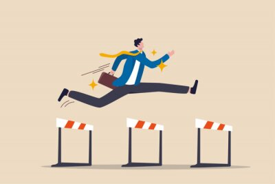 Fototapeta Success to win in business competition, overcome obstacles or motivation to solve problem and lead company achievement concept, confident businessman leader jump high over 3 hurdles to be winner.