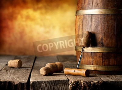 Fototapeta Sud s vínem a vývrtka na dřevěný stůl