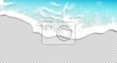 Fototapeta Summer background. Transparent sea wave.  3D vector. High detailed realistic illustration.