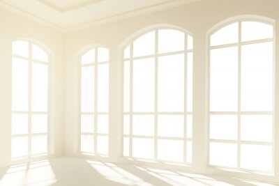 Fototapeta Sunny bílý interiér s velkými okny