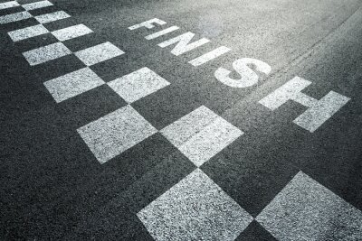 Fototapeta Sunny cílovou čáru vzor závodní pozadí na asfaltové podlahy.