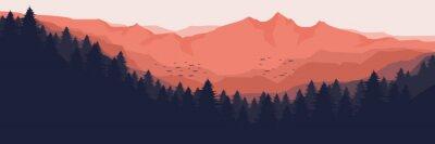 Fototapeta sunrise over the mountain forest landscape flat design vector illustration for wallpaper, background, backdrop design, template design and tourism design template