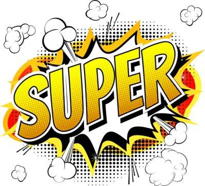 Fototapeta Super - komické knihy styl slovo na bílém pozadí.