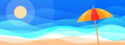 Fototapeta Surreal sun vector sandy beach scene with an umbrella and sea view in blue sky